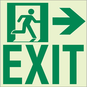 """EcoGlo Glow in the Dark """"Exit to the Right"""" Sign, Unframed, 8.4"""" x 8.9"""""""