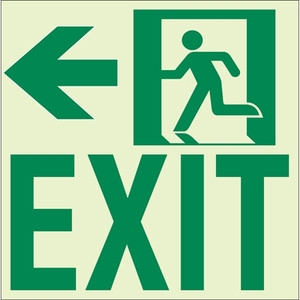 """EcoGlo Glow in the Dark """"Exit to the Left"""" Sign, Unframed, 8.4"""" x 8.9"""""""
