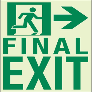 """EcoGlo Glow in the Dark """"Final Exit to the Right"""" Sign, Unframed, 8.4"""" x 11.1"""""""