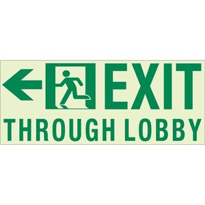 "EcoGlo Glow in the Dark Custom Exit sign, Unframed, 16.4"" x 7.4"""