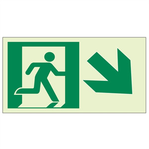 """EcoGlo Glow in the Dark """"Exit Down, to the Right"""" Sign, Unframed, 8"""" x 4.6"""""""