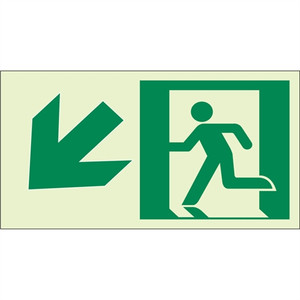 "EcoGlo Glow in the Dark ""Exit Down, to the Left"" Sign, Unframed, 8"" x 4.6"""