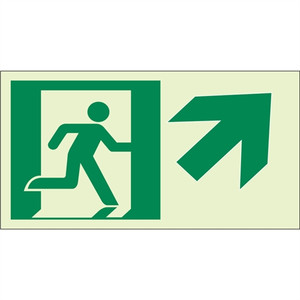 """EcoGlo Glow in the Dark """"Exit Up, to the Right"""" Sign, Unframed, 8"""" x 4.6"""""""