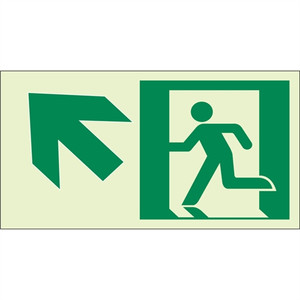"""EcoGlo Glow in the Dark """"Exit Up, to the Left"""" Sign, Unframed, 8"""" x 4.6"""""""