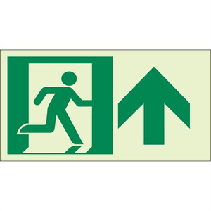 """EcoGlo Glow in the Dark """"Exit Straight Ahead, Up"""" Sign, Unframed, 8"""" x 4.6"""""""