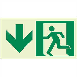"""EcoGlo Glow in the Dark """"Exit Straight Ahead, Down"""" Sign, Unframed, 8"""" x 4.6"""""""