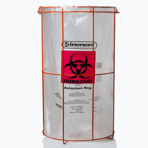 "Bag Stand with 24 x 36"" Biohazard Bags"