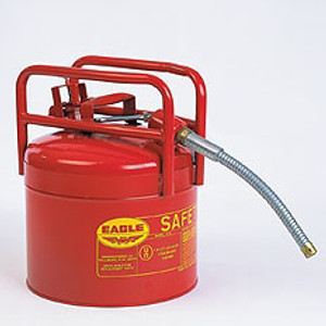 "Eagle® Type II Safety Can, DOT Approved Red Galvanized Steel, 5/8"" Flexible Hose"