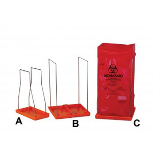 Biohazard Bag Stand, Large with 100 Autoclavable Bags, Poxygrid