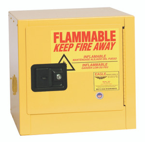Eagle® Bench Top Flammable Liquid Safety Cabinet, 2 Gal., 1 Shelf, 1 Door, Self Close, Yellow