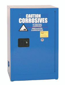 Eagle® Space Saver Safety Cabinet for Acid & Corrosives, 12 Gal., 1 Shelf, 1 Door, Self Close, Blue