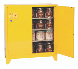 Eagle® Paint & Ink Tower Safety Cabinet, 40 Gal., 3 Shelves, 2 Door, Manual Close, Yellow