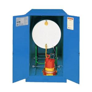 Eagle® Acid & Corrosive One Drum Horizontal Metal Safety Cabinet,55 Gal.,1 Shelf,2 Door, Manual Close, Blue