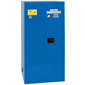 Eagle® Acid & Corrosive One Drum Vertical Metal Safety Cabinet, 55 Gal.,1 Shelf,2 Door, Manual Close, Blue