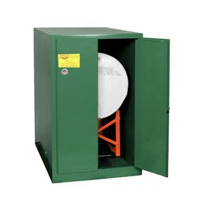 Eagle® Pesticide One Drum Horizontal Safety Cabinet, 55 Gal., 1 Shelf, 2 Door, Manual Close, Green