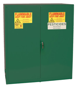 Eagle® Pesticide Two Drum Vertical Safety Cabinet, 110 Gal., 1 Shelf, 2 Door, Manual Close, Green