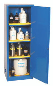 Eagle® Space Saver Acid & Corrosive Metal Safety Cabinet, 24 Gal., 3 Shelves, 1 Door, Manual Close, Blue