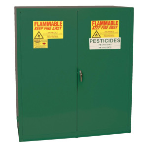 Eagle® Space Saver Pesticide Safety Cabinet, 24 Gal., 3 Shelves, 1 Door, Manual Close, Green
