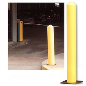 "Eagle® Poly Bollard Post, 42"" x 5"" Round Yellow with poly base"