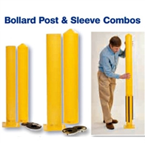 "Eagle® Steel Bollard Post Combo with Post Sleeve, 4.5"" x 42"" Yellow"