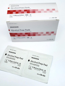 """Alcohol Prep Pad Wipes, 70%, Large 3.5"""", Sterile, 10 boxes of 100"""