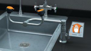 Eyewash, Deck Mounted, 90º Swivel, All-Stainless Steel, Right Hand Mounting