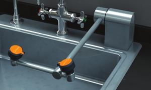 Eyewash, Deck Mounted AutoFlow 90º Swing-Down, All-Stainless Steel