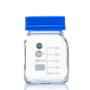 Borosil Reagent Square Bottles GL80 PP Screw Cap PP Pouring Ring 500 mL