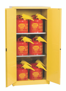 Eagle® Safety Cabinet Combo and 12 Safety Cans with Funnels, 60 gallon Manual Close