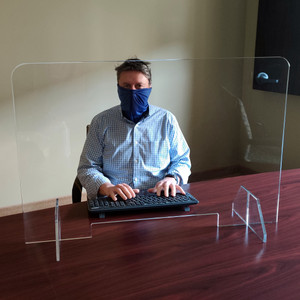 Desktop Protection Shield, Clear Acrylic, Heavy Duty