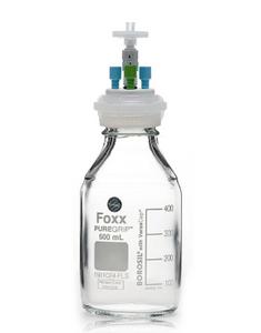 "PUREGRIP Universal HPLC Solvent Bottle Assy VersaCap GL45 500mL Clear3 Port OD Tube 1/8"" & 1/16"""