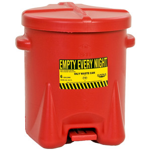 Eagle® 6 gal PE Oily Waste Can, Foot Lever, Choose Color