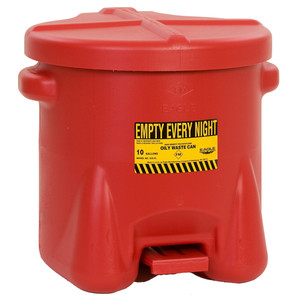 Eagle® 10 gal Poly Oily Waste Can, Foot Lever, Choose Color