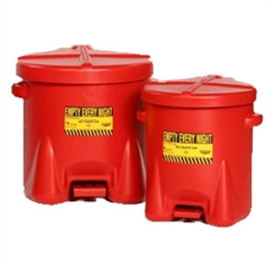Eagle® 14 gal PE Oily Waste Can, Foot Lever, Red or Yellow
