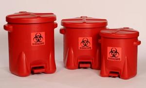 Eagle® Biohazard Polyethylene Disposal Can, 6 gallon, Red