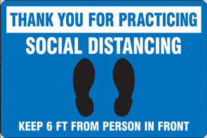 """COVID-19 Safety Floor Sign,  Footprints, Thank you for Social Distancing, 12""""x18"""", Choose Color"""