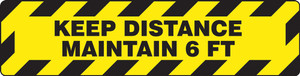 """COVID-19 Floor Sticker, 6-Ft Social Distancing, 6"""" x 24"""", Yellow and Black Caution Tape"""