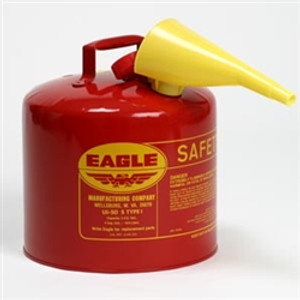 Eagle® Type I Safety Can, 5 gallon Metal with PE Funnel