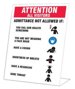 "Countertop Signs, Visitors Not Allowed If: Fail Health Screening, Not Wearing Mask or Have Cough, 10"" x 7"", Each"