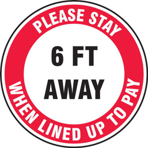 COVID-19 Floor Stickers, Foot Traffic Markers, Please Stay 6 FT Away When Lined Up To Pay, Each