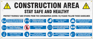 Fence-Wrap Mesh Banner, Construction Area: Stay Safe and Protect Yourself From  Coronavirus (COVID-19), 5 x 10', Each