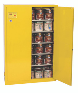 Eagle® Combustible Safety Cabinet, 60 gallon with 2 Door, Manual Close, Yellow