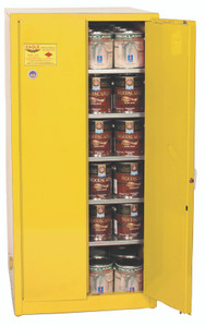 Eagle® Combustible Safety Cabinet, 96 gallon with 2 Door, Manual Close, Yellow