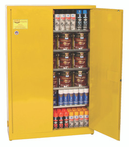 Eagle® Combustible Safety Cabinet, 30 gallon with 2 Door, Manual Close, Yellow