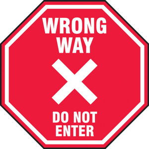"""COVID-19 Floor Stickers, Foot Traffic Markers, Wrong Way Do Not Enter In Octagon Shape, 12"""", Each"""