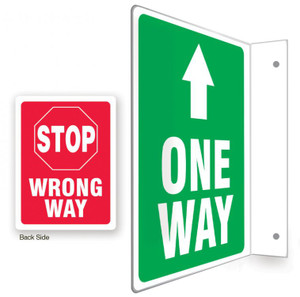 """90D Projection Sign, One Way / Stop Wrong Way, English, 12"""" x 9 """" Panel"""