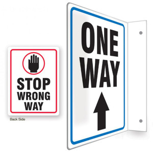 """9D Projection Sign, One Way / Stop Wrong Way, English, 12"""" x 9 """" Panel"""