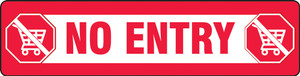 """COVID-19 Floor Stickers, Foot Traffic Markers, No Entry, English, 6"""" x 24"""", Each"""