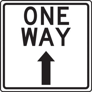 """COVID-19 Floor Stickers, Foot Traffic Markers, One Way, Up Arrow, 12"""", White, Each"""