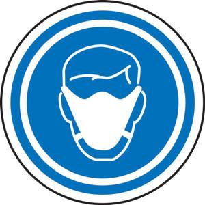 "Social Distancing Pavement Sign, Face Mask Symbol, 17"", Each"